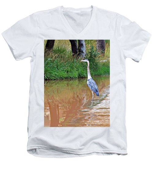 Blue Heron On The East Verde River Men's V-Neck T-Shirt