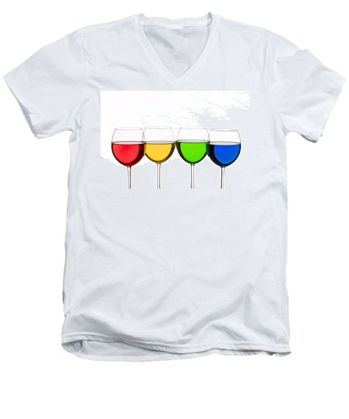 Colorful Wine Glasses Men's V-Neck T-Shirt