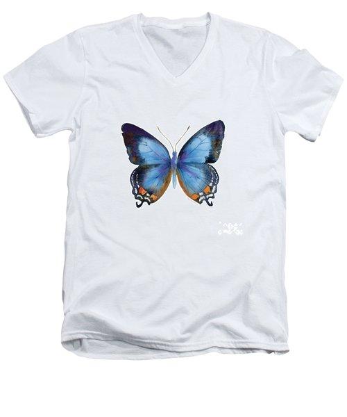 80 Imperial Blue Butterfly Men's V-Neck T-Shirt