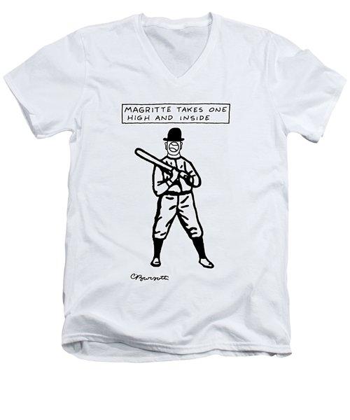 Magritte Takes One High Men's V-Neck T-Shirt
