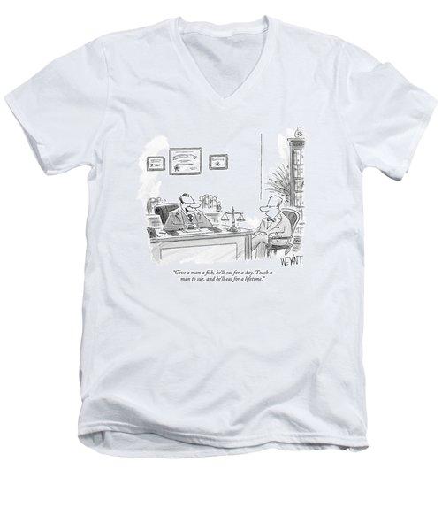 Give A Man A Fish Men's V-Neck T-Shirt