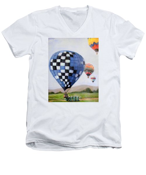 A Balloon Disaster Men's V-Neck T-Shirt by Donna Tucker