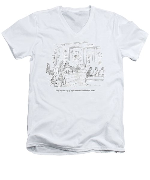 A Barista In A Coffee Shop Speaks To A Patron Men's V-Neck T-Shirt