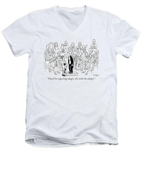 A Baseball Catcher Speaks To An Orchestra Men's V-Neck T-Shirt