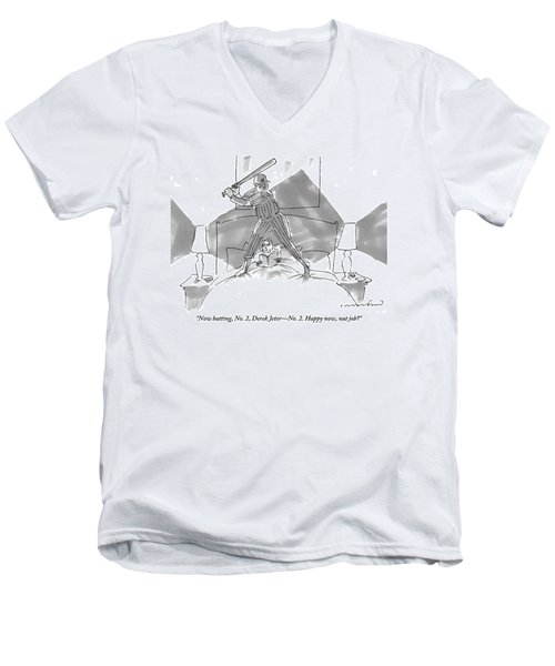 A Baseball Player About To Take A Swing Stands Men's V-Neck T-Shirt