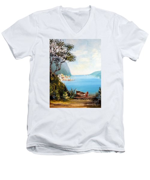 A Boat On The Beach Men's V-Neck T-Shirt
