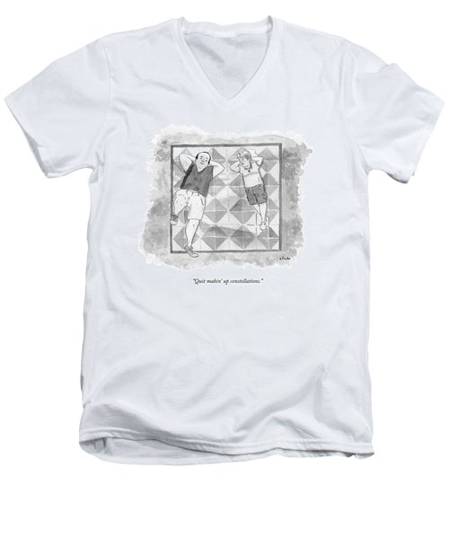 A Boy And His Father Look Up At The Stars Men's V-Neck T-Shirt