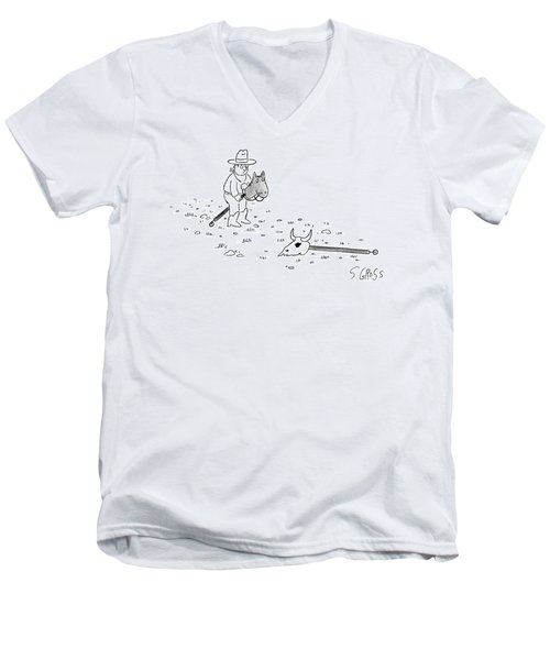 A Boy Dressed As A Cowboy Riding A Stick Horse Men's V-Neck T-Shirt