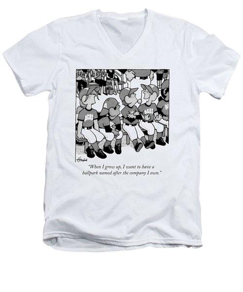 A Boy On A Little League Team Talks Men's V-Neck T-Shirt