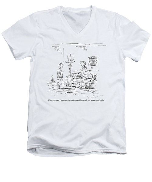 A Boy Speaks To His Mother In Their Living Room Men's V-Neck T-Shirt