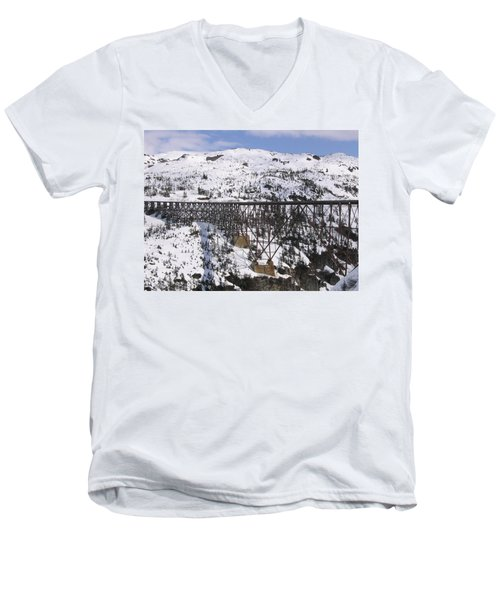Men's V-Neck T-Shirt featuring the photograph A Bridge In Alaska by Brian Williamson