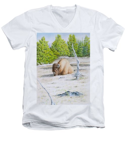 A Buffalo Sits In Yellowstone Men's V-Neck T-Shirt