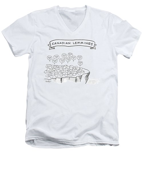 A Bunch Of Lemmings On A Cliff Saying After You Men's V-Neck T-Shirt