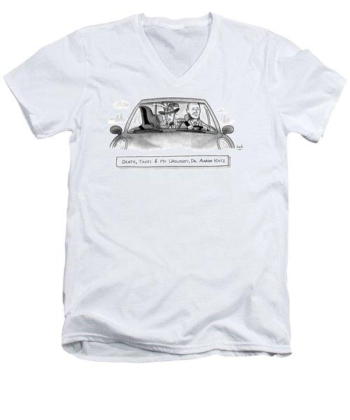 A Car With The Grim Reaper Men's V-Neck T-Shirt