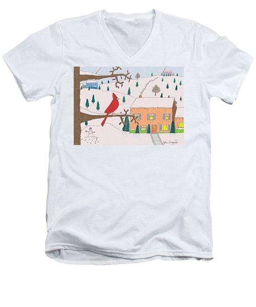 A Cardinal Christmas Men's V-Neck T-Shirt