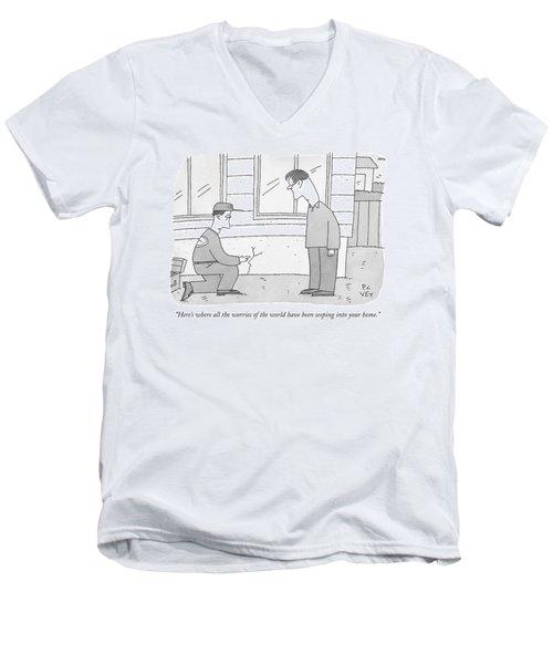 A Carpenter Examines A Crack On The Base Men's V-Neck T-Shirt