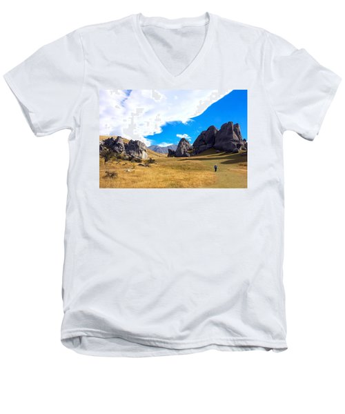 Men's V-Neck T-Shirt featuring the photograph A Castle Hill Walk by Stuart Litoff