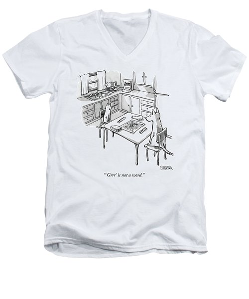 A Cat And Dog Play Scrabble In A Kitchen. 'grrr' Men's V-Neck T-Shirt