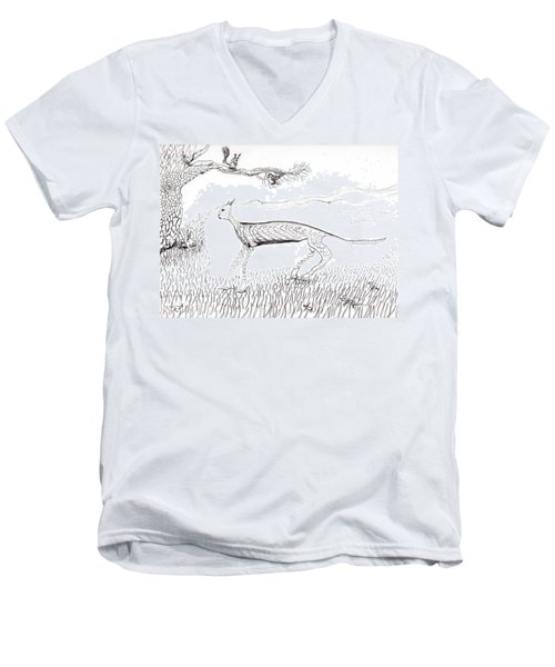 A Cat Moves Through Men's V-Neck T-Shirt