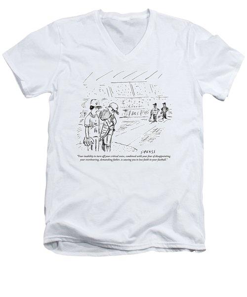 A Catcher Speaks To A Baseball Player Men's V-Neck T-Shirt