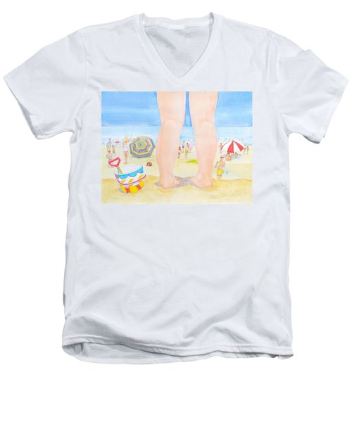 A Child Remembers The Beach Men's V-Neck T-Shirt by Michele Myers