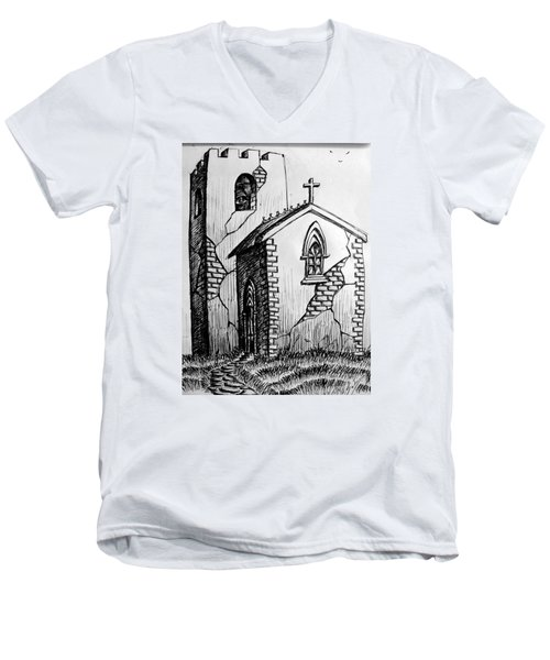 Men's V-Neck T-Shirt featuring the painting Old Church by Salman Ravish