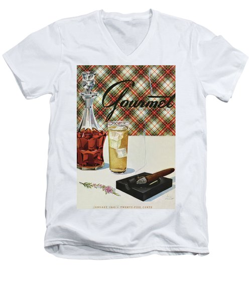 A Cigar In An Ashtray Beside A Drink And Decanter Men's V-Neck T-Shirt