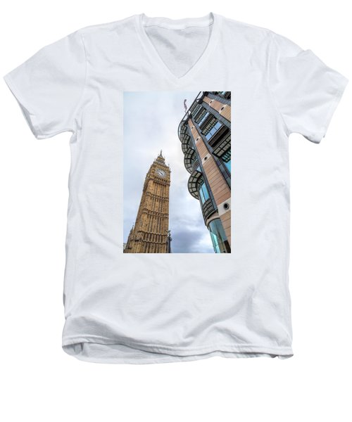 Men's V-Neck T-Shirt featuring the photograph A Corner In London by Tim Stanley