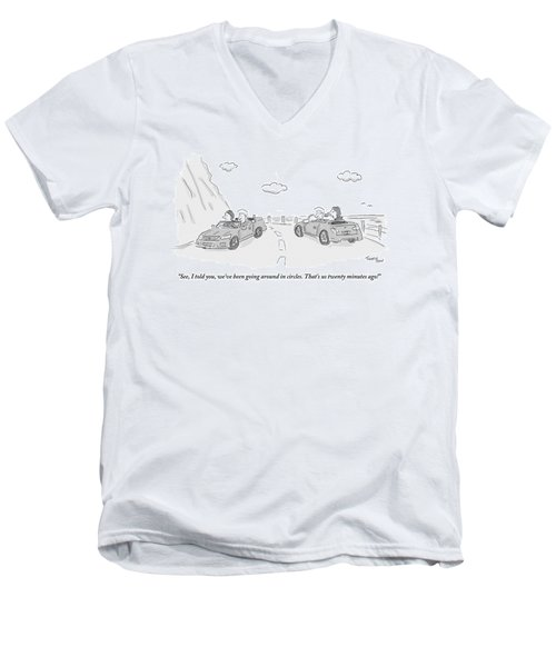 A Couple Driving In A Car Are Speaking Men's V-Neck T-Shirt