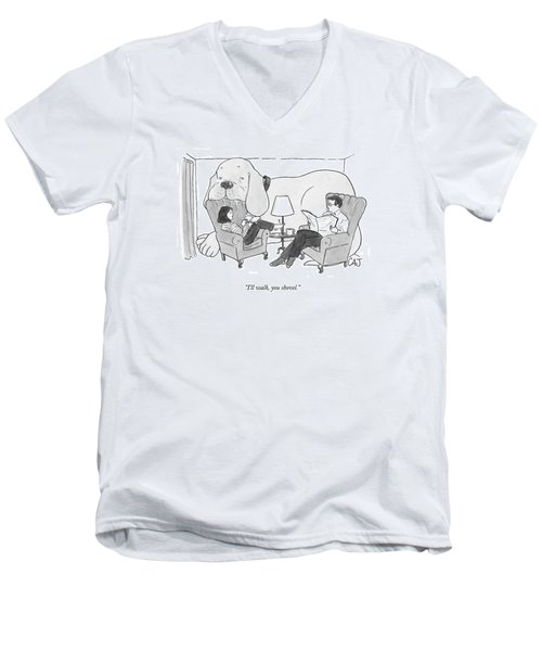 A Couple In The Living Room With Giant Dog Men's V-Neck T-Shirt