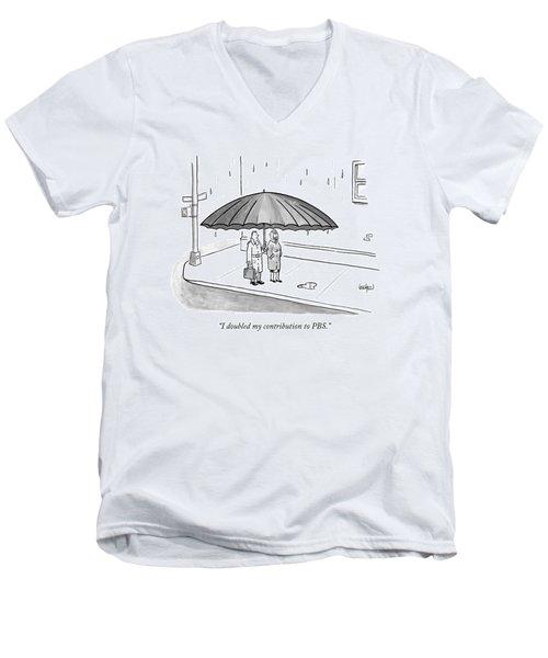 A Couple Under A Gigantic Umbrella On A City Men's V-Neck T-Shirt