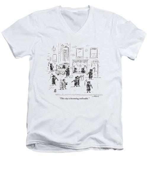 A Couple Walk Down A City Street Teeming Men's V-Neck T-Shirt