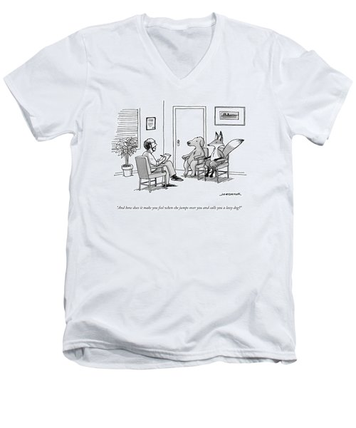 A Couples Therapist Speaks To A Fox And A Dog Men's V-Neck T-Shirt