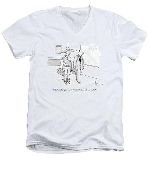 A Cowboy With A Briefcase Talks To A Businessman Men's V-Neck T-Shirt
