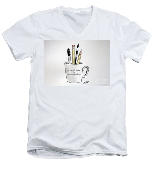 A Cup Of Tools To Express Freedom Men's V-Neck T-Shirt