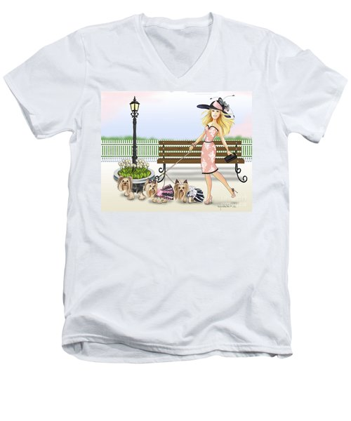 A Day At The Derby Men's V-Neck T-Shirt by Catia Cho