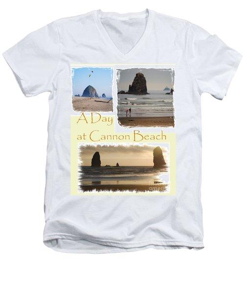 A Day On Cannon Beach Men's V-Neck T-Shirt by Sharon Elliott
