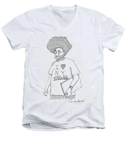 A Disgruntled Man With Large Hair And Stubble Men's V-Neck T-Shirt