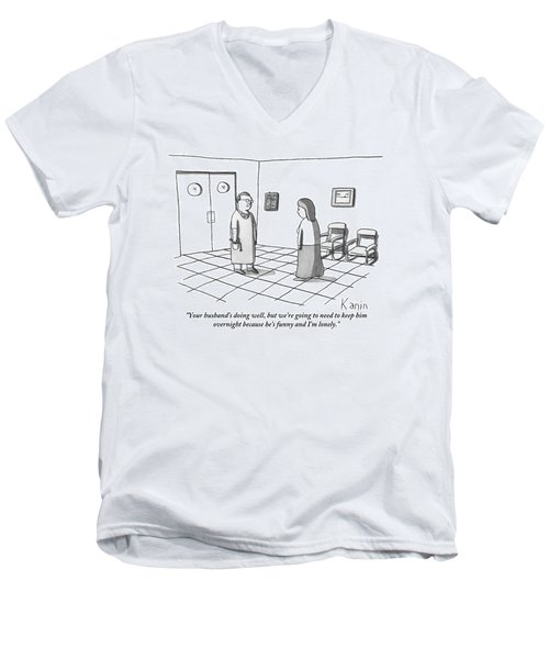 A Doctor Is Seen Talking To A Woman Men's V-Neck T-Shirt