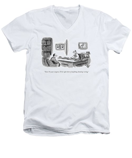 A Doctor Speaks To A Patient In His Office Men's V-Neck T-Shirt