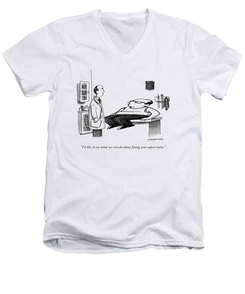 A Doctor Speaks To A Patient Whose Dimensions Men's V-Neck T-Shirt
