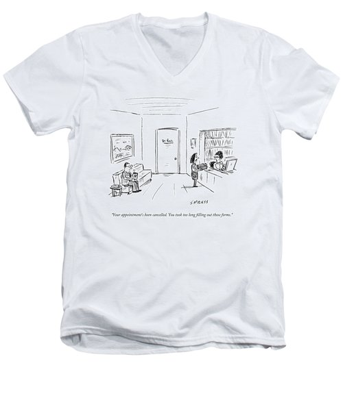 A Doctor's Office Receptionist Says To A Woman Men's V-Neck T-Shirt
