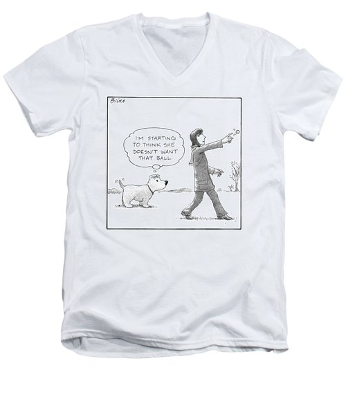 A Dog Thinks To Himself As A Woman Throws A Ball Men's V-Neck T-Shirt
