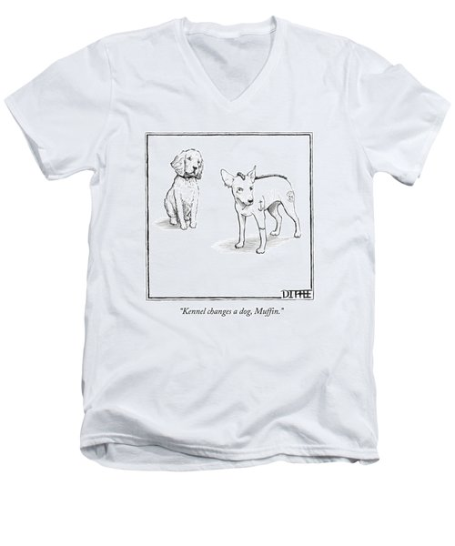Kennel Changes A Dog Muffin Men's V-Neck T-Shirt