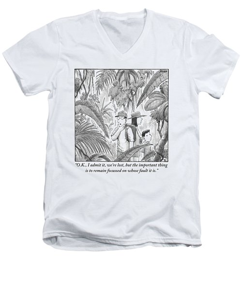 A Family Is Lost In The Depths Of A Jungle Men's V-Neck T-Shirt
