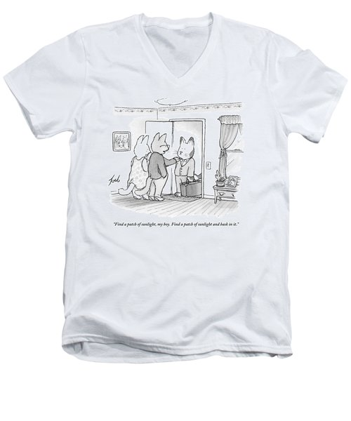 A Family Of Three Cats In A House Men's V-Neck T-Shirt
