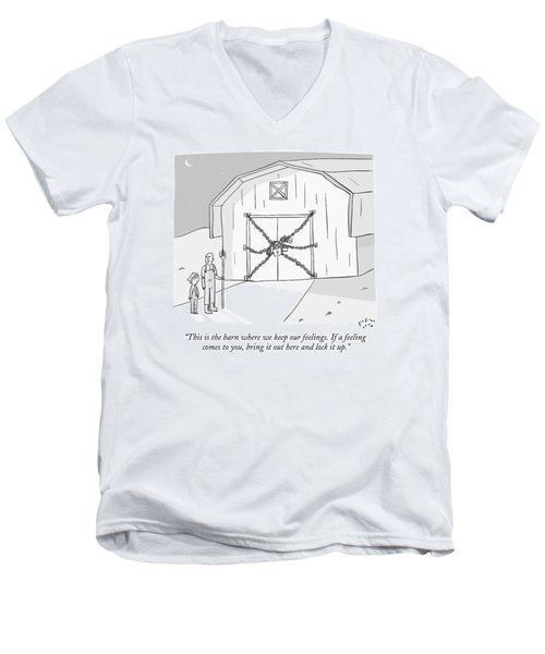 A Farmer Shows His Son A Barn That Is Locked Men's V-Neck T-Shirt