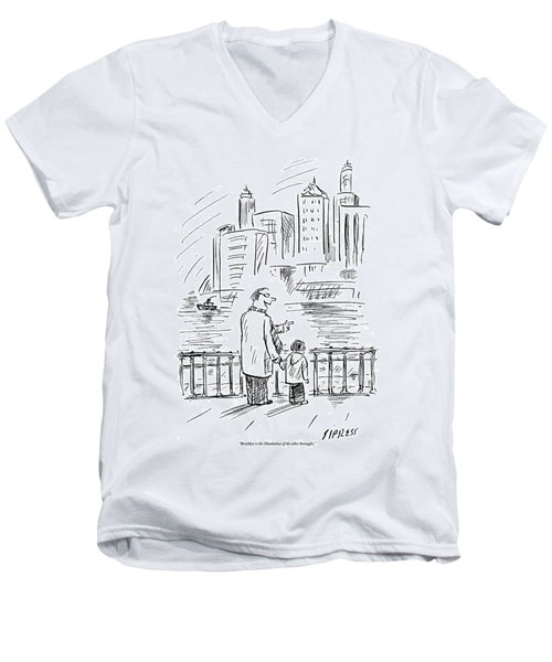 A Father And Son In Brooklyn Look Men's V-Neck T-Shirt
