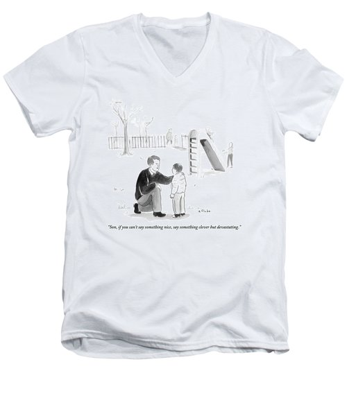 A Father Encourages His Son At The Playground Men's V-Neck T-Shirt