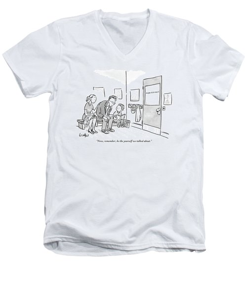 A Father Leans In To Give Advice To His Son Men's V-Neck T-Shirt